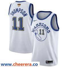 121501f8c Nike Warriors  11 Klay Thompson White Throwback The Finals Patch NBA  Swingman Hardwood Classics Jersey