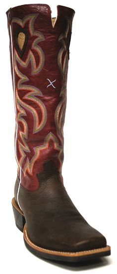 New to STT -- This Men's Twisted X® Boot is designed for the working Cowboy. It has a taller shaft for protection and an extended heel rand for your spurs to rest comfortably. Not only is this boot crafted for function but it is stylish too! The red stitched shafts and coffee leather vamps are a classic and sophisticated combination. | SouthTexasTack.com