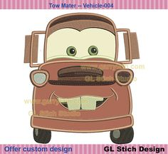Tow Mater Embroidery Applique digital pattern by GLStitchStudio, $2.99