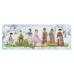 Princesses of the World Giant Floor Puzzle contains durable cardboard pieces to create a beautiful watercolor meadow scene with 7 princesses.