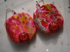 Ohrringe Herbstblüte in pink und orange von kunstpause auf DaWanda.com