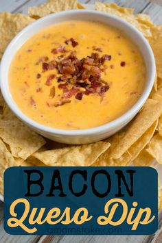 Whip up this easy bacon queso dip recipe for your next tailgating party or event! Perfect with a side of tortilla chips. Yummy Appetizers, Appetizer Recipes, Appetizers Superbowl, Wedding Buffet Food, Party Dip Recipes, Food To Make, Good Food, Yummy Food