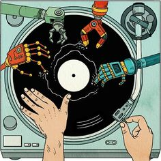 DJ Nic Harcourt: Why Spotify and Pandora Suck at Music Curation (Guest Column) Arte Do Hip Hop, Techno Music, Music Aesthetic, Art Graphique, Art Studios, Art For Kids, Illustration Art, Nerd, Drawings