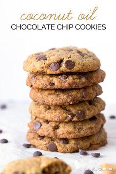 The Best Ever Coconut Oil Chocolate Chip Cookies - made gluten-free + vegan (quinoa flour) Coconut Oil Chocolate, Coconut Chocolate Chip Cookies, Coconut Sugar, Quinoa Desserts, Vegan Sweets, Quinoa Cookies, Healthy Cookies, Fall Desserts, Healthy Desserts