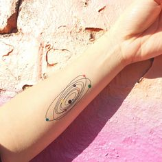 Colourful Solar System Temporary Tattoo  Set of by TattooWhatever