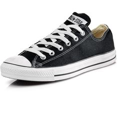 Converse Chuck Taylor All Star Ox Plimsolls ($52) ❤ liked on Polyvore featuring shoes, sneakers, converse, black trainers, canvas sneakers, black lace shoes, lace up sneakers and lacing sneakers