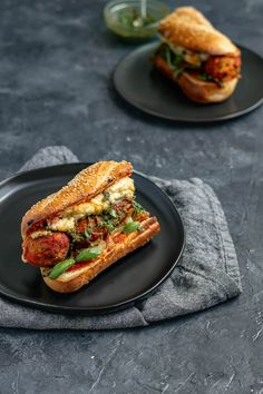 Vegan Chickpea Meatball Subs with Homemade Mozzarella These mouth watering meatball subs are completely vegan! Stuffed with easy chickpea meatballs, marinara, pesto, and homemade vegan mozzarella and baked until hot and toasty. Vegan Foods, Vegan Dishes, Whole Food Recipes, Cooking Recipes, Vegan Meatballs, Vegetarian Recipes, Healthy Recipes, Easy Recipes, Food Processor Recipes