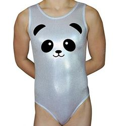 Gymnastics Leotard made with beautiful Silver White all over foil Mystique Spandex and embellished with a Panda Face Gymnastics design. Panda Paw on the back of the leotard. Tank Style Leotard by AERO