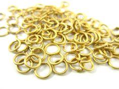 100 piezas de 5 mm Gold Plated Brass anillas por turkisheyesupply