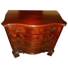 Nice.  Mahogany Serpentine Chest  PRICE:$2,395 Purchase  PLACE OF ORIGIN:United Kingdom DATE OF MANUFACTURE:1900 PERIOD:Early 20th Century MATERIALS AND TECHNIQUES:brass handles, Mahogany chest MATERIALS NOTES:Mahogany chest with brass handles CONDITION:Excellent WEAR:Wear consistent with age and use HEIGHT:31.5 in. (80 cm) WIDTH:34.5 in. (88 cm) DEPTH:20 in. (51 cm) DEALER LOCATION:Millwood, VA Mahogany Serpentine Chest