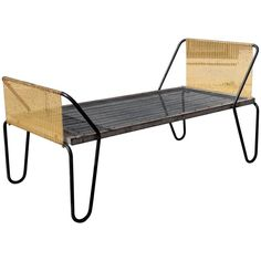 One of Four Jacques Hitier Daybed in Original Black and Yellow - Rare one of four Jacques Hitier Daybed in original black and yellow for Tubauto. The daybed shows wear of age and superficial rust but still in working nice patina. Metal Furniture, Bed Furniture, Outdoor Furniture, Modern Daybed, Bench Stool, Outdoor Chairs, Outdoor Decor, Banquette, Mid Century Modern Furniture