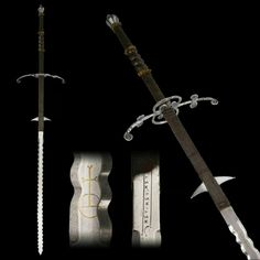 Long sword with complex hilt.