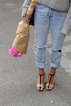 cuffed denim with heels<3 love this slouchy chic look!