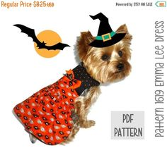 ON SALE Halloween Dog Dress SEWING Pattern  1619 by SofiandFriends