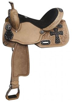Studded cross black suede seat saddle starting at $440 (free shipping) at www.spoilmyhorse.com