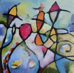 """Celebration by Tammy Ricker 6.5"""" x 6.5"""" oil painting on birch panel. Love this painting. Bought it for my birthday."""