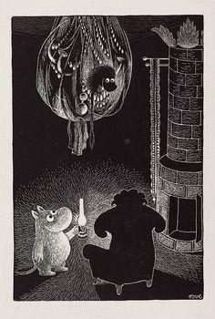 Moomin uses a lantern to see in the dark - by Tove Jansson Tove Jansson, Moomin Books, Children's Book Illustration, Totoro, Fairy Tales, Sketches, Scene, Fine Art, Drawings