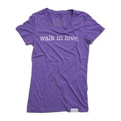walk in love. Purple Women's T-Shirt   walk in love.