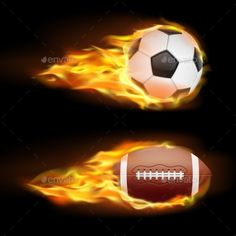 Vector Set of Sports Burning Balls by vectorpocket Vector set of sports burning balls, balls for soccer and American football on fire in a realistic style isolated on black. Print,