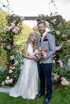 One Fab Day bride Sinead and groom Paul's floral ceremony backdrop Outdoor Wedding Reception, Wedding Ceremony Decorations, Ceremony Backdrop, Outdoor Weddings, Wedding Fun, Garden Wedding, Real Weddings, Groom Style, Best Photographers