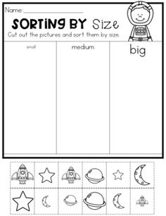 kindergarten sorting by size worksheets - size worksheets for kindergarten ; sorting by size worksheets for kindergarten ; kindergarten sorting by size worksheets Kindergarten Sorting Activities, Preschool Lessons, Kindergarten Worksheets, Autism Activities, Sorting Games, Kindergarten Readiness, Math Literacy, Maths, Sistema Solar