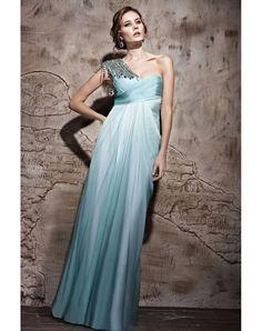 One Shoulder Light Blue Evening Dress