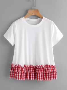 SheIn offers Contrast Gingham Tiered Frill Hem Tee & more to fit your fashionable needs. Dressy Casual Outfits, Style Casual, Casual Dresses, Cute Outfits, Curvy Fashion, Fashion Kids, Fashion Outfits, Fashion Design, Fashion Boots