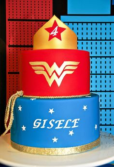 Comic Inspired Wonder Woman Dessert Table // Hostess with the Mostess® - Comic Inspired Wonder Woman Dessert Table - Wonder Woman Cake, Wonder Woman Birthday, Wonder Woman Party, Moms 50th Birthday, My Birthday Cake, Baby Girl Birthday, Superhero Theme Party, Birthday Party Themes, Birthday Decorations
