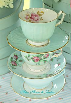 Aiken House & Gardens: Touches of Aqua ( A stack of aqua teacups.) Aiken House & Gardens: Touches of Aqua ( A stack of aqua teacups. Green Tea Cups, Shabby, Vintage Dishes, Vintage China, Vintage Tea Cups, Vintage Tea Parties, Mad Tea Parties, Antique Tea Cups, Antique Dishes