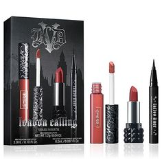 This limited edition 'London Calling' make up set is filled with Kat's favourites so you can create your own bold and beautiful look. It includes a mini 'Studded Kiss' lipstick in 'Lolita', 'Everlasting' mini liquid lipstick in 'Double Dare' and a mini 'Tattoo' liner in 'Trooper'.
