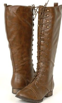 New! Women's LIGHT Brown Lace-up Combat BOOTS - I love these boots so much. A rip off of my friends $300 boots!
