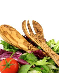 "Salatbesteck ""Sfax"" aus Olivenholz 30 cm | treevoli"