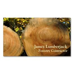 Cut logs in autumn business card template for forestry contractor, lumberjacks and timber merchants