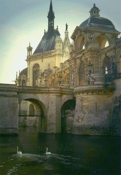 "Château  de Chantilly ~ north of Paris, built began in the early to mid 1500's, ""was destroyed during the French Revolution and rebuilt in the 1870s."" The château now displays ""one of the finest art galleries in France,"" the Musée Condé, with special emphasis on collections from the 15th and 16th centuries, as well as magnificent stables, also with its own museum, ""the 'Living Museum of the Horse Musée Vivant du Cheval), as the Condé men were enamoured with horses.'"" (photo by metroman8)"