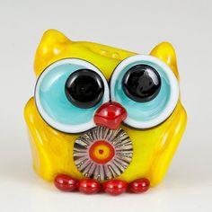 Sunshine the Yellow Owl Lampwork Bead by maybeads