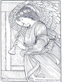An Angel By Burne Jones Fantasy Myth Mythical Legend Wings Warrior Valkyrie Anjos Goth Gothic Coloring Pages Colouring Adult Detailed Advanced