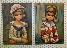 Vintage Kitsch Set of Two Eden Lithos Big Eyed prints by modpets, $8.00