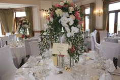 wedding floral table centre with orchids