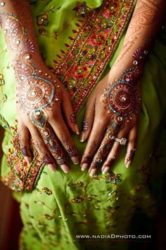 "I think this is the first time I've seen a jeweled henna. It's gorgeous, although it's probably very painful. Reminds me of the original story ""The Little Mermaid,"" when the grandmother says to the princess that beauty requires pain."