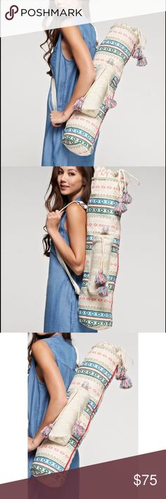 Tapestry Yoga Mat Bag With Tassels Brand new! Has a water bottle pouch. Super cute! 15% off of bundles! FEEL LIKE MAKING AN OFFER? Please do it through the make an offer feature as I will no longer negotiate prices in the comments section. PRICE IS FINAL ON ITEMS $15 or less unless bundled. - Bags