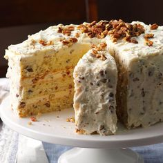 Pecans and butter give this cake the same irresistible flavor as the popular butter pecan ice cream flavor. —Becky Miller, Tallahassee, FloridaButter Pecan Layer Cake Recipe photo by Taste of … Layer Cake Recipes, Delicious Cake Recipes, Yummy Cakes, Layer Cakes, Poke Cakes, Köstliche Desserts, Dessert Recipes, Pecan Recipes, Cake Au Lait