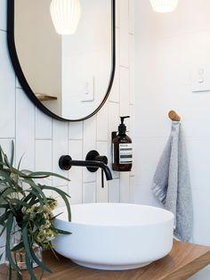 above counter basin ensuite bathroom furniture Diy Bathroom, Ensuite Bathroom, Modern Bathroom Design, Bathroom Mirror, Round Mirror Bathroom, Amazing Bathrooms, Bathroom Feature Wall, Bathroom Decor, Mirror