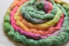 Australian Wool Tops Roving English Leicester Combed Tops Tasmanian Grown Spinning Felting Needle Felting Rainbow Mix 100g 12250