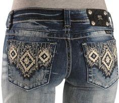 Miss Me Jeans #Miss_Me_Jeans #fashion #blue_jeans #love Miss Me Jeans Miss Me Jeans - Embellished Aztec Applique Slim Fit