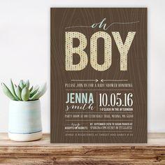 Vintage Boy Baby Shower Invitation, wood shower invitation,  Rustic wood Baby Shower Invitations, boho Boy baby Shower invitation