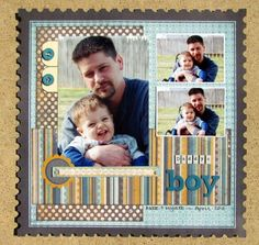 two page boy scrapbook layouts | Daddy's Boy - Two Peas in a Bucket…