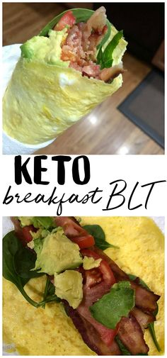 a breakfast BLT - the perfect keto diet breakfast recipe! Easy egg wrap to make with bacon! Egg Diet Plan, Ketogenic Diet Meal Plan, Diet Plan Menu, Diet Meal Plans, Keto Meal, Diet Schedule, Ketogenic Foods, Diet Foods, Keto Diet Breakfast