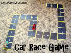 Car Race Game:  Use 2 pieces of black construction paper and cut them into 8 rectangles.    Use a white crayon to draw the street lines down the middle of each.   Glue yellow construction paper to divide into spaces.  Laminate or use clear contact paper so they won't get bent.    The game is simply to get from one end of the road to the other. Use toy cars for game pieces and a large  foam die.  Since the roads are not connected you can arrange them differently each time you play.
