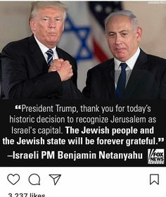( Moments ago, Israeli PM Benjamin Netanyahu thanks President for formally recognizing Jerusalem as Israel's capital and ordering the State Department to begin moving the U. embassy from Tel Aviv to Jerusalem. Leonard Cohen, We Are The World, In This World, Disney Marvel, Heiliges Land, Trump Is My President, Benjamin Netanyahu, Conservative Politics, American Presidents