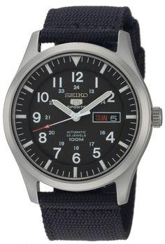 Amazon.com: Seiko Men's SNZG15 Seiko 5 Automatic Stainless Steel Watch with Nylon Strap: Seiko: Watches